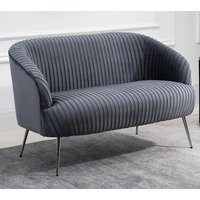 Product photograph showing Layla Fabric Upholstered 2 Seater Sofa In Grey