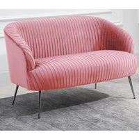 Product photograph showing Layla Fabric Upholstered 2 Seater Sofa In Pink