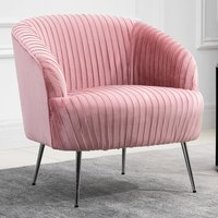 Product photograph showing Layla Fabric Upholstered Armchair In Pink