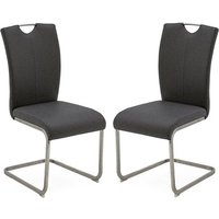 Product photograph showing Lazzaro Grey Faux Leather Dining Chairs In Pair