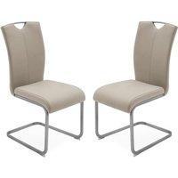 Product photograph showing Lazzaro Taupe Faux Leather Dining Chairs In Pair