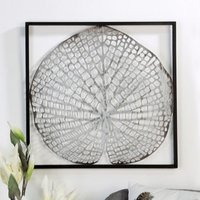 Product photograph showing Leaf Metal Wall Art In Silver With Antique Dark Brown Frame