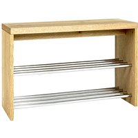 Leandro Wooden Shoe Storage Bench In Oak With Chrome Shelves
