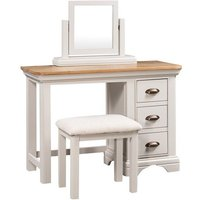 Product photograph showing Leanne Dressing Table With Mirror And Stool In Stone White