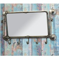 Product photograph showing Learo Metal Wall Hung Coat Rack With Mirror In Anthracite