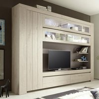 Product photograph showing Leilani Large Entertainment Unit In Beige Oak With Led