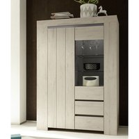 Product photograph showing Leilani Wooden Display Cabinet In Beige Oak