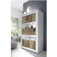 Product photograph showing Taylor Wooden Display Cabinet In White High Gloss And Pero