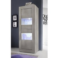 Product photograph showing Taylor Led Wooden Display Cabinet In White Pine With 2 Doors