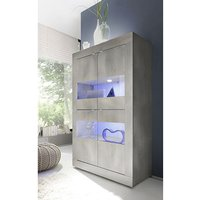 Product photograph showing Taylor Led Wooden Display Cabinet In White Pine With 4 Doors