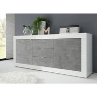Taylor Wooden Sideboard In White High Gloss And Cement Effect