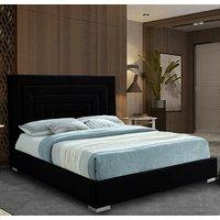 Leipzig Plush Velvet Upholstered Single Bed In Black