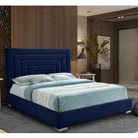 Leipzig Plush Velvet Upholstered Single Bed In Blue
