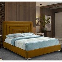 Leipzig Plush Velvet Upholstered Single Bed In Mustard