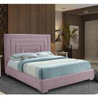 Leipzig Plush Velvet Upholstered Single Bed In Pink