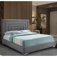 Leipzig Plush Velvet Upholstered Single Bed In Steel