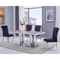 Leming Large Grey Marble Dining Table With 6 Liyam Black Chairs