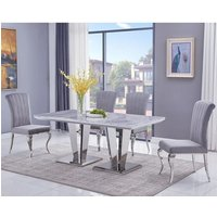Leming Large Grey Marble Dining Table With 6 Liyam Grey Chairs