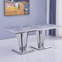 Product photograph showing Leming Marble Large Dining Table In Grey With Twin Pedestal