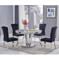 Product photograph showing Leming Round Grey Marble Dining Table With 4 Liyam Black Chairs