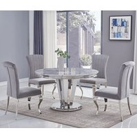 Product photograph showing Leming Round Grey Marble Dining Table With 4 Liyam Grey Chairs