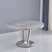 Leming Marble Round Dining Table In Grey With Chrome Base