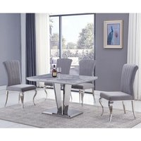Product photograph showing Leming Small Grey Marble Dining Table With 4 Liyam Grey Chairs