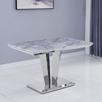 Product photograph showing Leming Marble Small Dining Table In Grey With Chrome Base