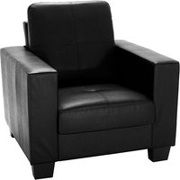 Product photograph showing Lena Leather And Pvc Bonded 1 Seater Sofa In Black