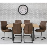 Lenia Dining Table In Oak Effect With 6 Lima Brown Chairs