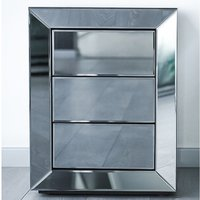 Lenna Mirrored Wooden Bedside Cabinet In Grey