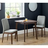 Lennox Dining Set In Walnut With 2 Berkeley Grey Fabric Chairs