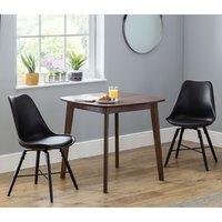 Lennox Dining Set In Walnut With 2 Kari Black Chairs