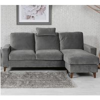Product photograph showing Lenny Velvet Upholstered Chaise Sofa Bed In Grey
