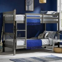 Product photograph showing Leno Wooden Double Bunk Bed In Grey