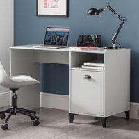 Product photograph showing Lenoir Wooden Computer Desk In Grey With 1 Door