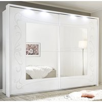 Product photograph showing Lerso Led Mirrored Sliding Door Wardrobe In Serigraphed White
