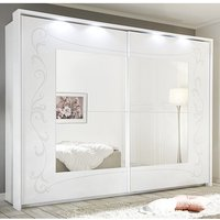 Product photograph showing Lerso Led Mirrored Wooden Sliding Wardrobe In Serigraphed White