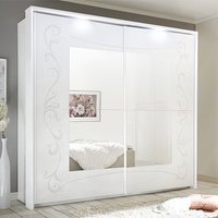 Product photograph showing Lerso Led Sliding Door Mirrored Wardrobe In Serigraphed White