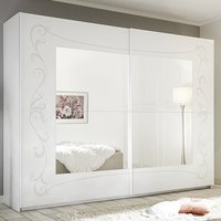 Product photograph showing Lerso Mirrored Sliding Door Wardrobe In Serigraphed White