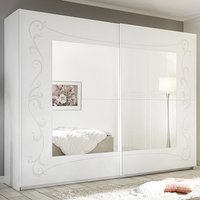 Product photograph showing Lerso Mirrored Wooden Sliding Wardrobe In Serigraphed White