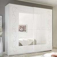 Product photograph showing Lerso Sliding Door Mirrored Wardrobe In Serigraphed White