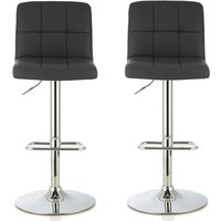 Product photograph showing Lesly Contemporary Bar Stool In Black Faux Leather In A Pair