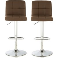 Product photograph showing Lesly Bar Stool In Cappuccino Faux Leather In A Pair
