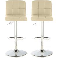Product photograph showing Lesly Contemporary Bar Stool In Cream Faux Leather In A Pair
