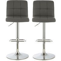 Product photograph showing Lesly Contemporary Bar Stool In Grey Faux Leather In A Pair