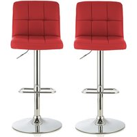 Product photograph showing Lesly Contemporary Bar Stool In Red Faux Leather In A Pair