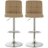 Product photograph showing Lesly Contemporary Bar Stool In Taupe Faux Leather In A Pair