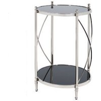 Lester Mirrored Side Table Round In Black And Nickel Finish