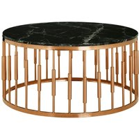 Gloas Round Marble Top Coffee Table With Rose Gold Frame